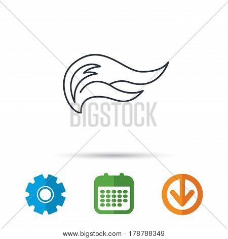 Fire flames icon. Blazing bonfire sign. Calendar, cogwheel and download arrow signs. Colored flat web icons. Vector