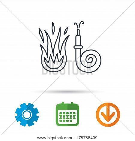 Fire hose reel icon. Fire station sign. Calendar, cogwheel and download arrow signs. Colored flat web icons. Vector