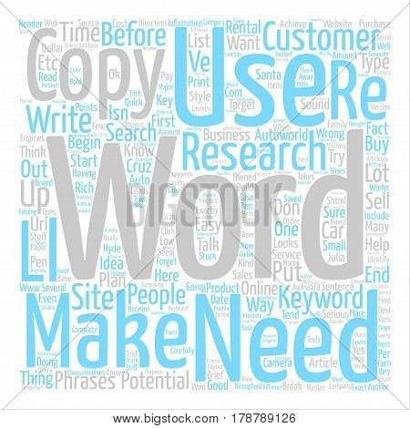 Keyword Rich Copy Works But Only When You Have A Plan text background word cloud concept poster