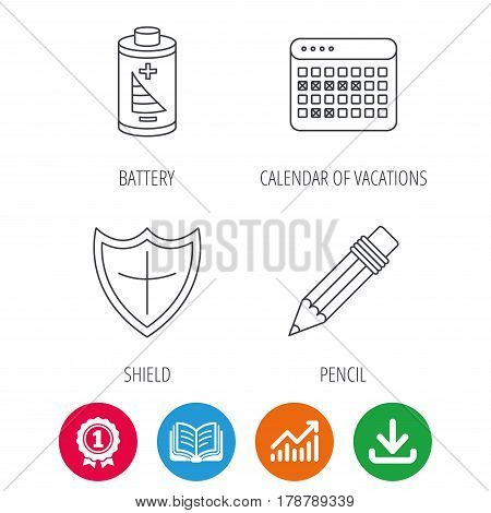 Battery, pencil and protection shield icons. Vacation calendar linear sign. Award medal, growth chart and opened book web icons. Download arrow. Vector