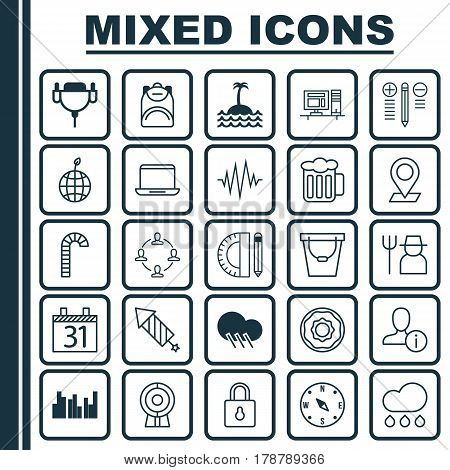 Set Of 25 Universal Editable Icons. Can Be Used For Web, Mobile And App Design. Includes Elements Such As Web Discussing, Collaboration, Reef And More.