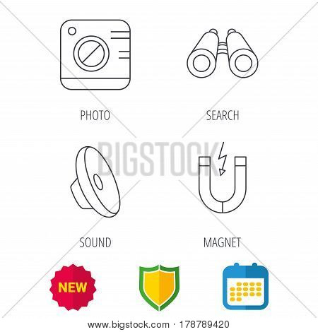 Photo camera, magnet and sound icons. Search linear sign. Shield protection, calendar and new tag web icons. Vector
