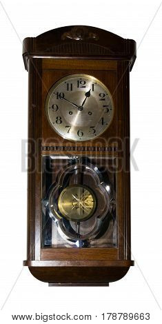 Vintage wall clock .Wall clock isolated on white background.Wooden clock . old clock .