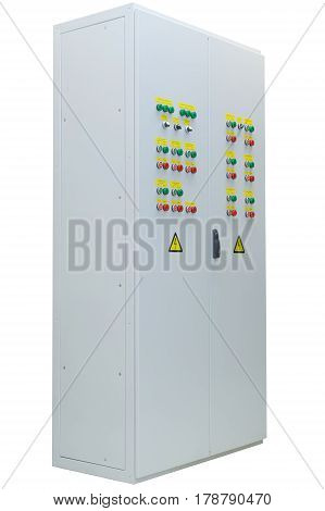 The shield or Cabinet power electric outdoor performance on isolated white background. The two-door. On each door are located device management and alarm systems. Switches and light bulbs.