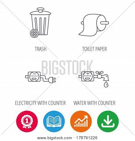 Trash bin, electricity and water counter icons. Toiler paper linear sign. Award medal, growth chart and opened book web icons. Download arrow. Vector
