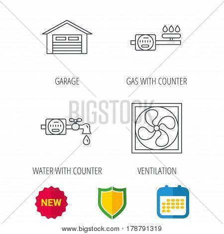 Ventilation, garage and water counter icons. Gas counter linear sign. Shield protection, calendar and new tag web icons. Vector