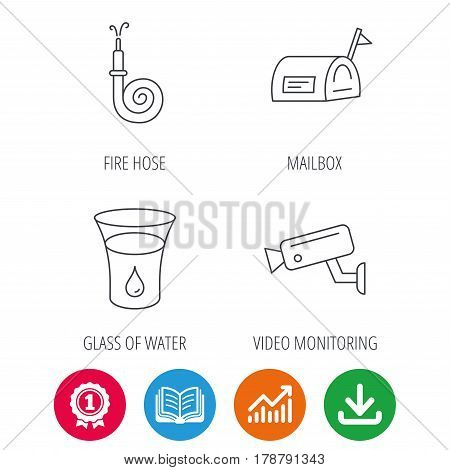 Mailbox, video monitoring and fire hose icons. Glass of water linear sign. Award medal, growth chart and opened book web icons. Download arrow. Vector