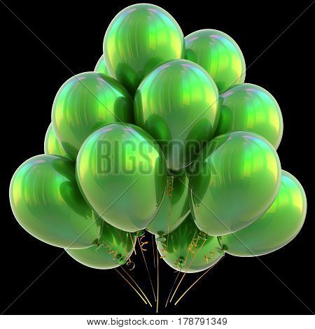 Balloons happy birthday party decoration green glossy. Holiday anniversary celebration new year's eve christmas carnival greeting card design element. 3D illustration isolated on black