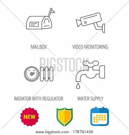 Water supply, video camera and mailbox icons. Radiator with regulator linear sign. Shield protection, calendar and new tag web icons. Vector