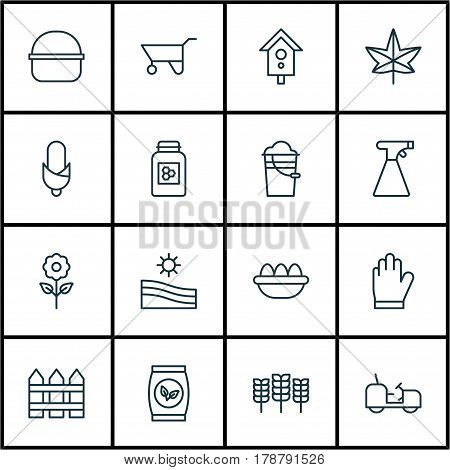 Set Of 16 Garden Icons. Includes Wheelbarrow, Agrimotor, Decorative Plant And Other Symbols. Beautiful Design Elements.