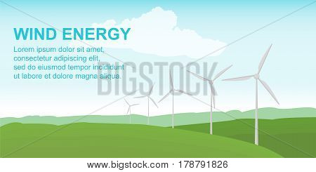 Wind power station on the green field. Alternative safe energy sources. Vector illustration in flat style