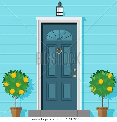 Closed front door with a lantern and ornamental plants in a pot. Vector illustration in flat style