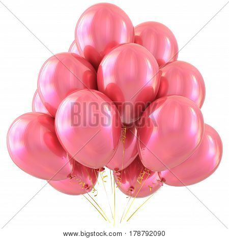 Party balloons pink happy birthday valentine's day decoration glossy. 3D illustration isolated