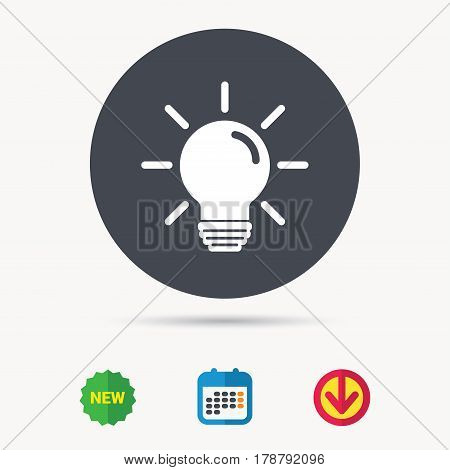 Light bulb icon. Lamp sign. Illumination technology symbol. Calendar, download arrow and new tag signs. Colored flat web icons. Vector