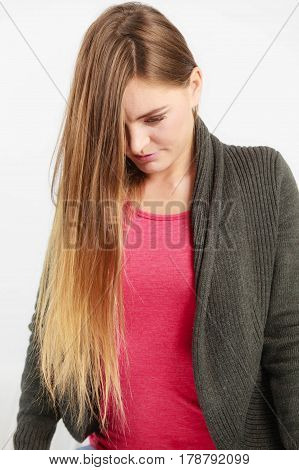 Young Woman With Long Hairs.