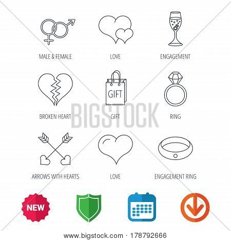 Love heart, gift box and wedding ring icons. Broken heart and engagement linear signs. Valentine amour arrows, brilliant flat line icons. New tag, shield and calendar web icons. Download arrow. Vector