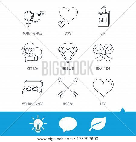 Love heart, gift box and wedding rings icons. Bow and engagement linear signs. Valentine amour arrows, brilliant flat line icons. Light bulb, speech bubble and leaf web icons. Vector