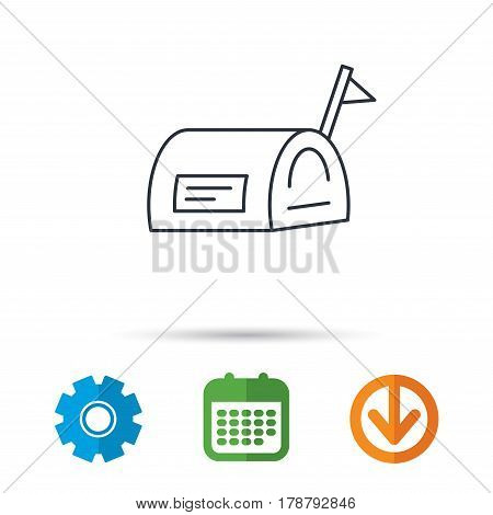 Mailbox with flag icon. Post email box sign. Calendar, cogwheel and download arrow signs. Colored flat web icons. Vector