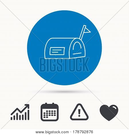 Mailbox with flag icon. Post email box sign. Calendar, attention sign and growth chart. Button with web icon. Vector