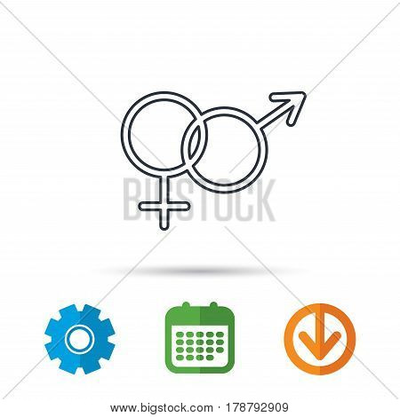 Male and female icon. Traditional sexuality sign. Calendar, cogwheel and download arrow signs. Colored flat web icons. Vector