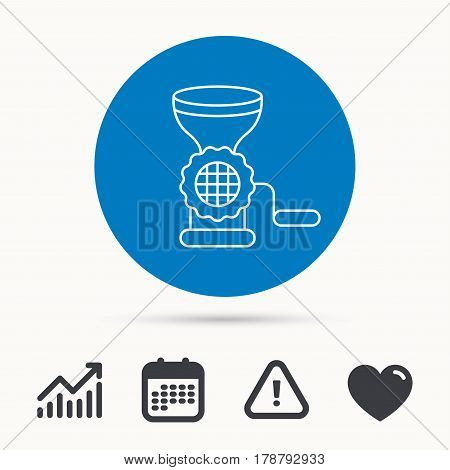 Meat grinder icon. Manual mincer sign. Kitchen tool symbol. Calendar, attention sign and growth chart. Button with web icon. Vector