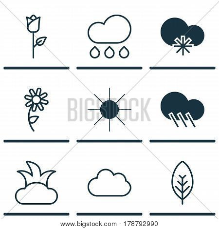 Set Of 9 Landscape Icons. Includes Cloud, Sunshine, Raindrop And Other Symbols. Beautiful Design Elements.