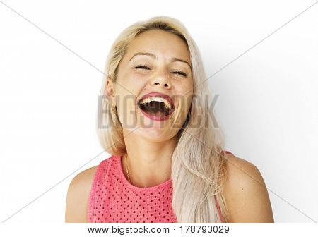 Caucasian woman face expression laughing and smiling