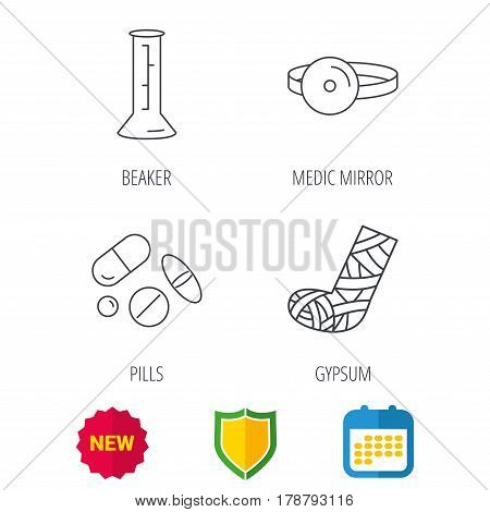 Gypsum, lab beaker and medical pills icons. Medical mirror linear sign. Shield protection, calendar and new tag web icons. Vector