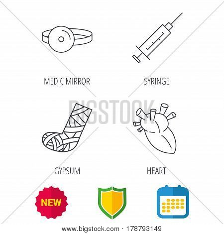Syringe, heart and gypsum icons. Medical mirror linear sign. Shield protection, calendar and new tag web icons. Vector