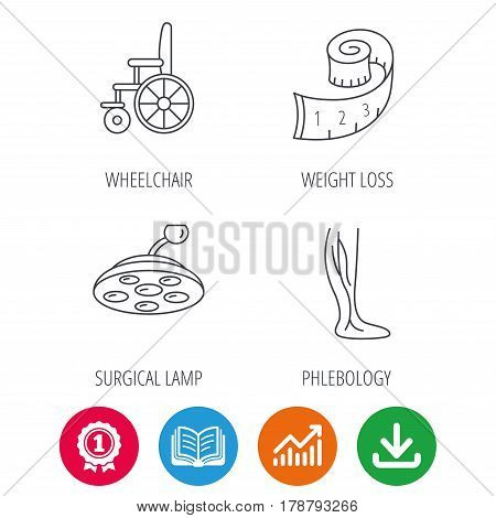 Weight loss, wheelchair and vein varicose icons. Surgical lamp and phlebology linear signs. Award medal, growth chart and opened book web icons. Download arrow. Vector