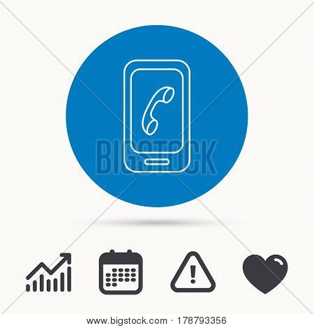 Smartphone icon. Cellphone with touchscreen sign. Calendar, attention sign and growth chart. Button with web icon. Vector