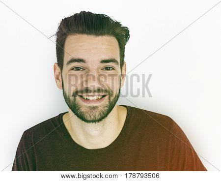 Man Smile Face Expression Studio Portrait