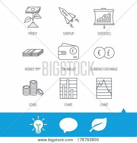 Profit investment, cash money and startup rocket icons. Wallet, currency exchange and euro linear signs. Chart, coins and statistics icons. Light bulb, speech bubble and leaf web icons. Vector
