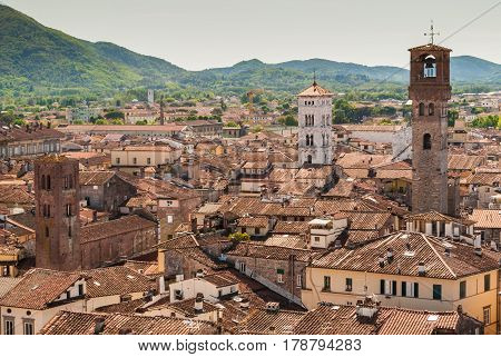 Aerial view of Lucca in Tuscany; the tower on the right is called