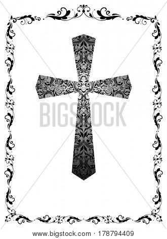 Greeting black and white card with vintage floral cross