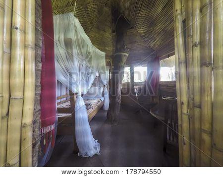 Room inside observation treehouse inside Kibale National Park Uganda.