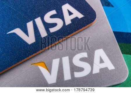 Indianapolis - Circa March 2017: Close Up of VISA company logo on a Credit Card I