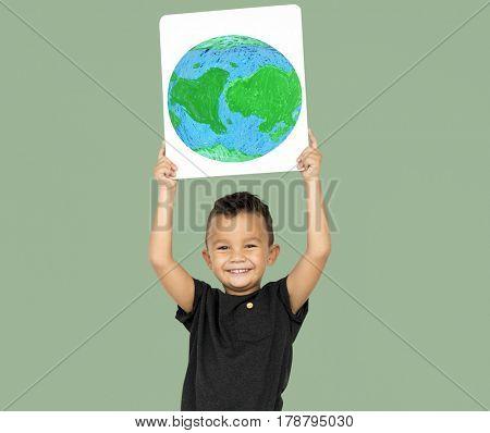 Little Boy Holding Global Paper Board Studio Portrait