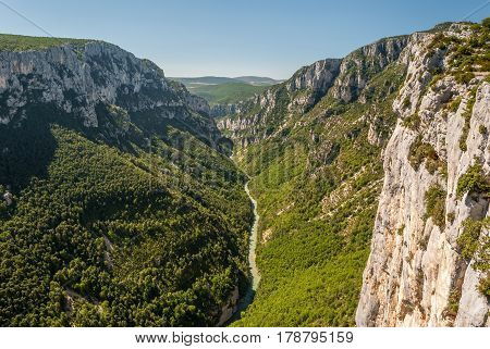 The canyon formed by river Verdon in Haute Provence (France)