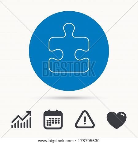 Puzzle icon. Jigsaw logical game sign. Boardgame piece symbol. Calendar, attention sign and growth chart. Button with web icon. Vector
