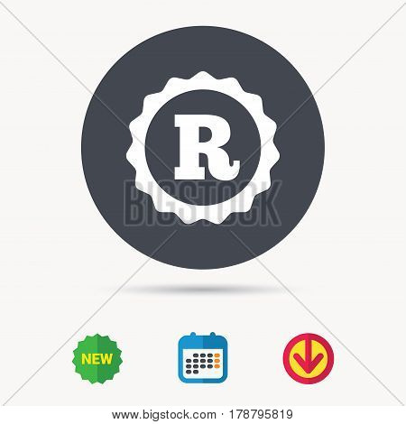 Registered trademark icon. Intellectual work protection symbol. Calendar, download arrow and new tag signs. Colored flat web icons. Vector
