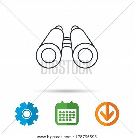 Search icon. Binoculars sign. Spyglass symbol. Calendar, cogwheel and download arrow signs. Colored flat web icons. Vector