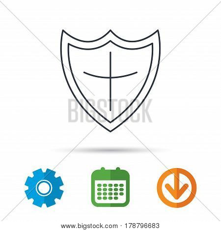 Shield icon. Protection sign. Royal defence symbol. Calendar, cogwheel and download arrow signs. Colored flat web icons. Vector