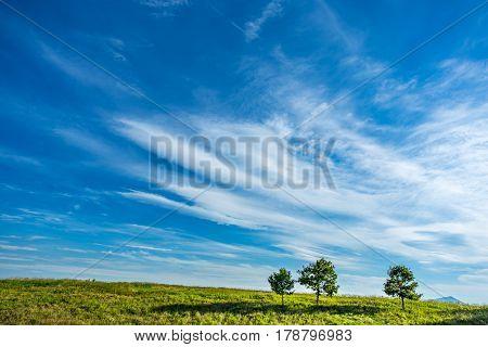 A summer day produces a blue cloudy sky outside Roanoke Virginia.