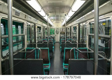 PARIS FRANCE - OCTOBER 19 2014: Inside of an empty Paris metro passenger car (EMU MF 67) of the RATP in the terminal station of the 3bis Line