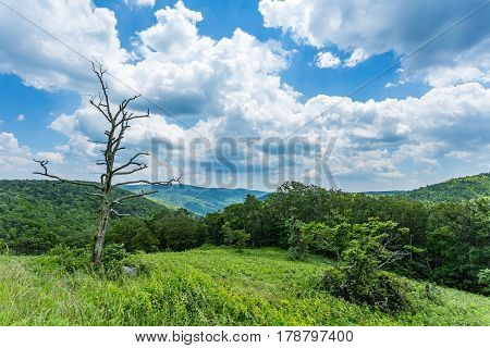 Rain falls in the distance over the Appalchian Mountains at Shenandoah National Park.