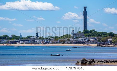 A view of Provincetown from across the harbor at the tip of Cape Cod.
