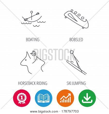 Boating, horseback riding and bobsled icons. Ski jumping linear sign. Award medal, growth chart and opened book web icons. Download arrow. Vector