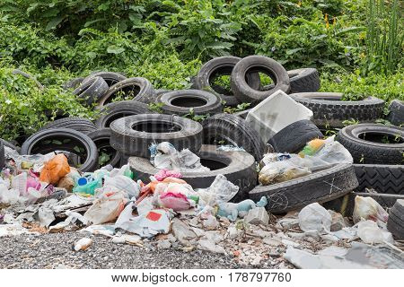 Used tyre at garbage dump ground collect rain water and risk breed aedes mosquito carrier of dengue virus
