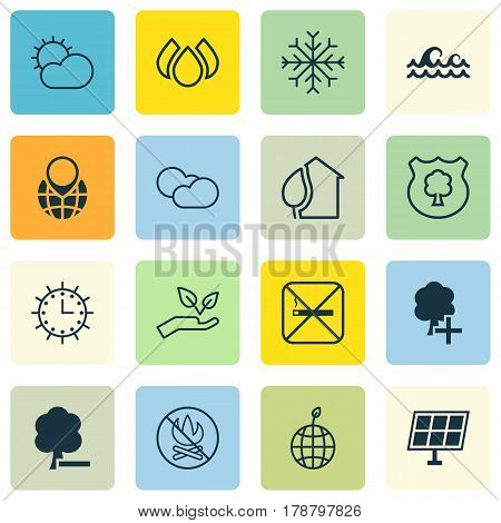 Set Of 16 Eco Icons. Includes Pin Earth, Save World, Cloud Cumulus And Other Symbols. Beautiful Design Elements.